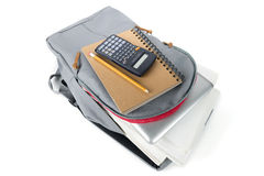 Backpack full of school supplies. on white background. Royalty Free Stock Photo