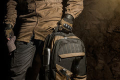 Backpack and gear composition. Royalty Free Stock Photo