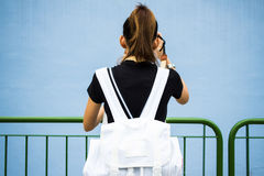 Backpack girl Royalty Free Stock Images