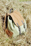 Backpack in the grass. Backpack in the dry grass photographed close-up Stock Photo