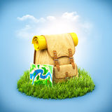 Backpack on grass Royalty Free Stock Photos