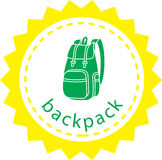 Backpack. Green backpack in a bright frame in the form of emblem Royalty Free Stock Images