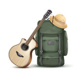 Backpack with hat and guitar. Vector big green backpack with safari hat and guitar isolated on white background Royalty Free Stock Photos
