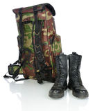 Backpack and hiking boots Stock Images