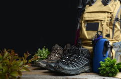 Backpack hiking with boots of mountain Royalty Free Stock Photo
