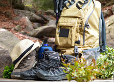 Backpack hiking with boots of mountain Stock Images