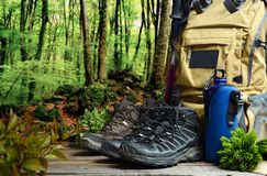 Backpack hiking with boots of mountain Royalty Free Stock Images