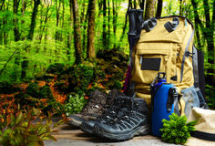 Backpack hiking with boots of mountain Stock Photos