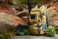 Backpack hiking with boots of mountain Royalty Free Stock Image