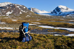 Backpack with horns. Backpack with founded horns in the landscape of Sarek/Sweden Royalty Free Stock Photo