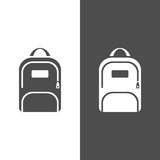 Backpack icon on a dark and white background Stock Photo