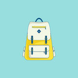 Backpack icon in line flat style. Backpack - design element of tourist trip, hiking equipment, education, walking. Line flat icon with grunge texture. Trendy Royalty Free Stock Image