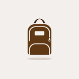 Backpack icon with shadow. On beige background Royalty Free Stock Image