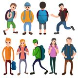 Backpack icons set, cartoon style vector illustration