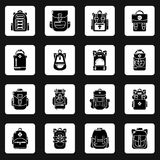 Backpack icons set, simple style. Backpack icons set. Simple illustration of 16 backpack vector icons for web Royalty Free Stock Image