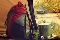 Backpack and kettle Royalty Free Stock Image