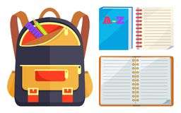 Backpack for Kids with ABC Open Copybook Vector Royalty Free Stock Photography