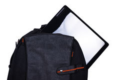 Backpack with laptop Stock Images