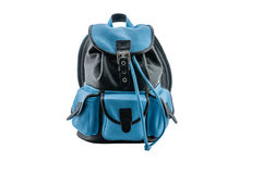 Backpack in leather royalty free stock photo