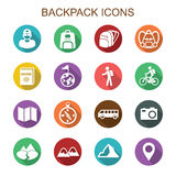 Backpack long shadow icons Stock Photos