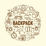 Backpack minimal thin line icons set Royalty Free Stock Photography