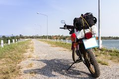 Backpack on motorbike ready to go Stock Photography