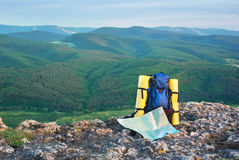 Backpack in mountain. Stock Photography