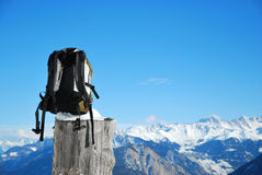 Backpack in mountain landscape Royalty Free Stock Photos