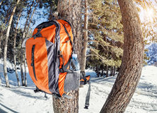 Backpack in the mountains Royalty Free Stock Photos