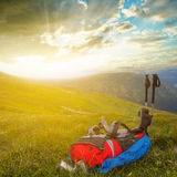 Backpack in a mountains Royalty Free Stock Photography
