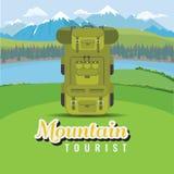 Backpack no monte com montanha e paisagem do lago Plano e vetor do estilo da cor sólida ilustração do vetor