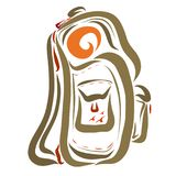 Backpack o curso, esboço em linhas coloridas de fluxo ilustração stock