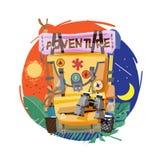 backpack o dia inteiro toda a noite conceito da aventura - vetor ilustração stock