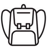 Backpack o uso isolado do ícone do vetor para projetos do curso e da excursão ilustração stock