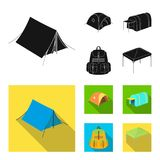Backpack and other kinds of tents.Tent set collection icons in black, flat style vector symbol stock illustration web. Backpack and other kinds of tents.Tent Stock Image