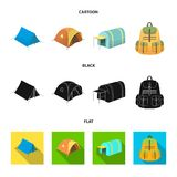 Backpack and other kinds of tents.Tent set collection icons in cartoon,black,flat style vector symbol stock illustration.  Royalty Free Stock Image