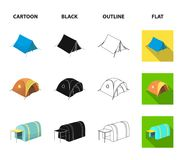 Backpack and other kinds of tents.Tent set collection icons in cartoon,black,outline,flat style vector symbol stock. Illustration Royalty Free Stock Image