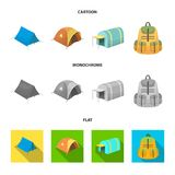 Backpack and other kinds of tents.Tent set collection icons in cartoon,flat,monochrome style vector symbol stock. Illustration Royalty Free Stock Photography