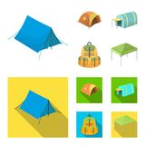 Backpack and other kinds of tents.Tent set collection icons in cartoon,flat style vector symbol stock illustration web. Backpack and other kinds of tents.Tent Stock Photos