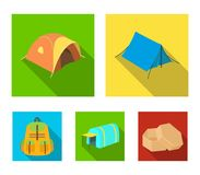 Backpack and other kinds of tents.Tent set collection icons in flat style vector symbol stock illustration web. Backpack and other kinds of tents.Tent set Stock Photo