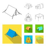 Backpack and other kinds of tents.Tent set collection icons in outline,flat style vector symbol stock illustration web. Backpack and other kinds of tents.Tent vector illustration
