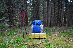 Backpack in the  outdoor forest Royalty Free Stock Image