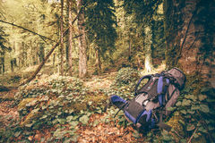 Backpack outdoor Lifestyle hiking camping equipment. Forest nature on background stock photography