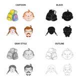 Backpack para o resto, as caras do ` s do menino, as meninas e os homens Ícones ajustados da coleção do feriado da família no esb ilustração royalty free