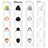 Backpack para o resto, as caras do ` s do menino, as meninas e os homens Ícones ajustados da coleção do feriado da família no esb ilustração do vetor
