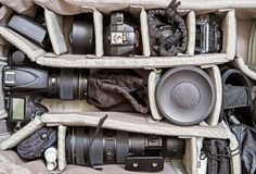 Backpack Photography Set Stock Images