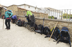 Backpack pilgrims on Camino de Santiago, Spain Royalty Free Stock Images
