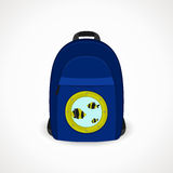 Backpack with porthole. S for tourists, blue. vector format Stock Images