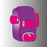 Backpack. Purple backpack on gradient gray background Royalty Free Stock Photos