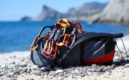 Backpack with quickdraws Royalty Free Stock Images